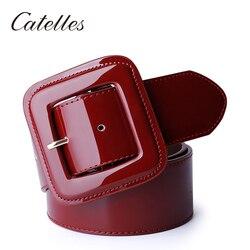 Широкий женский пояс Catelles, красный женский ремень из натуральной кожи для женщин, дизайнерский бренд, высокое качество, Женские поясные рем...