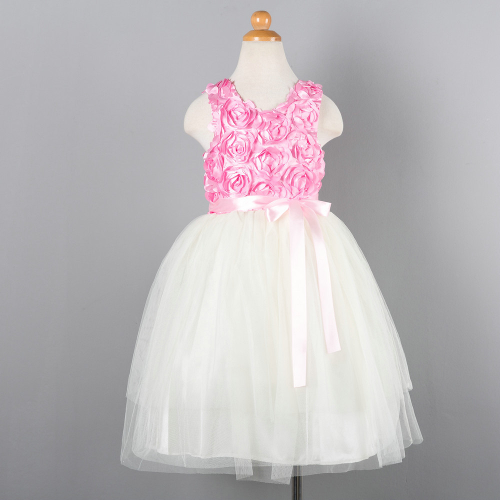 High Quality Ins Baby Kid Store Baby Girls Fashion Beauty Clothes Pink Flower and White Tulle Outfit Girl Children Party Dresses(China)