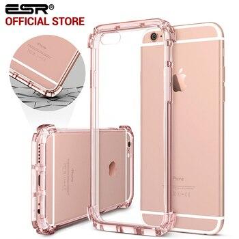 Forte no vidro traseiro para iphone 6 plus, esr one piece híbrido hard case limpar back caso capa protetora macia para iphone 6 s plus 6 6 s