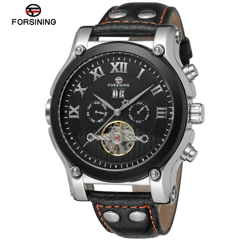 FORSINING Tourbillon Military Mechanical Watch Leather Strap Auto Date Calendar Gold Luxury Men Automatic Skeleton Wrist Watches<br>