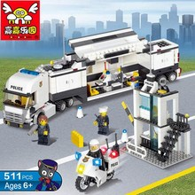 Wholesale Price!! 511Pcs Police Station Building Blocks Mobile Command Truck Educational DIY Construction Bricks Toys+With Gift