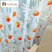 Window screening balcony finished product burnout design flower tulle curtain for living room sunflower kitchen curtains(China)