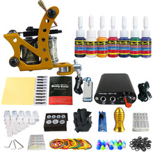 Top Quality Complete Tattoo Kit 10 Wrap Coils Tatto Machine Guns Pigment Mini Foot Pedal Tattoo Machine Set With 7 Tattoo Ink