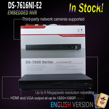 Hikvision stock DS-7616NI-E2 16CH NVR 2SATA interfaces network video recorder without POE Ports 6MP max build Ip Cameras