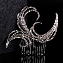 Fashion Bridal silver color CZ stone hair Crystal Clear Comb hairpins crown barrettes tiara noiva wedding hair ornament HA2