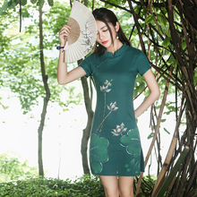 Traditional Chinese clothing 2017 women summer elegant ethnic classic green white mandarin collar lotus dress vestidos gown