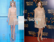 ph15089 Lea Seydoux a blush Elie Saab Fall Couture partially embroidered lace cocktail dress casual dress