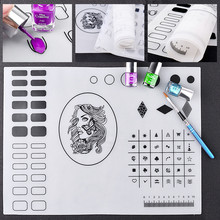 2017 Clear Silicone Stamping Nail Polish Holder Washable Nail Plate Mat Table Display Stamp Transfer Tools for New Learners(China)