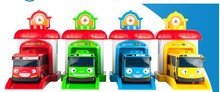 2017 New 4pcs/set Korean Cute Cartoons garage tayo the little bus model mini tayo plastic baby car for Christmas gift(China)
