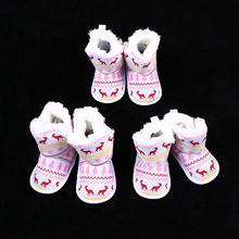 2017 New Arrival 1 Pair Baby Soft Sole Cute Christmas Elk Crib Shoes Anti-slip Winter Warm Boots Prewalker 0-18M