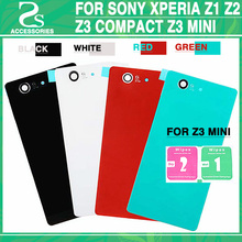 Rear Z3 Compact Battery Back Glass Cover Sony xperia Z1 Z2 Z3 / Z3 Mini D5803 D5833 Back Door Battery Housing Case