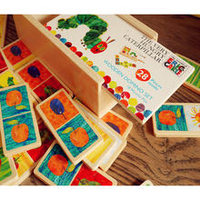 3Style Very Hungry Caterpillar Wooden Domino Set Jigsaw Puzzle the Solitaire Classic Desktop Dominoes Game Kids Educational Toy(China)