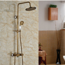 "Hig-end 8"" Rainfall Surface Mounted Bathroom Shower Faucet Antique Brass Complete Tub Shower Mixer Taps"