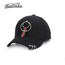 Badinka New Metal Rings Polo Baseball Cap Hip Hop Strapback Hats for Men Women Black Snapback Dad Hat Bone Male Gorras Hombre(China)