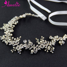 Free Shipping A15053 RhineStone Leaf Women Daily Hair Ornaments Bridemaid Wedding Hairbands Heapieces Bride Long Hair Vines(China)