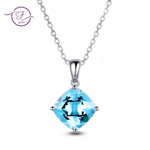 Top Brand Sky Blue 아쿠아 마린면 펜 던 트 Necklace 대 한 Women 925 Sliver Necklace Women's Fine Jewelry 자 Anniversary 선물(China)