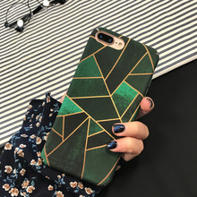 Luxury Green Square Phone Cases Cover For iPhone 7 Case  Hard PC Capa Fashion Case For Coque iPhone 7 6 6S Plus Coque