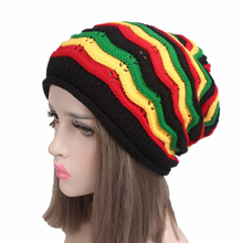 Warm Headband Red Yellow Black Green Wavy Pattern Jamaican Headdress Knitted Hat Lovers Hair Accessories 2Pcs Free Shipping