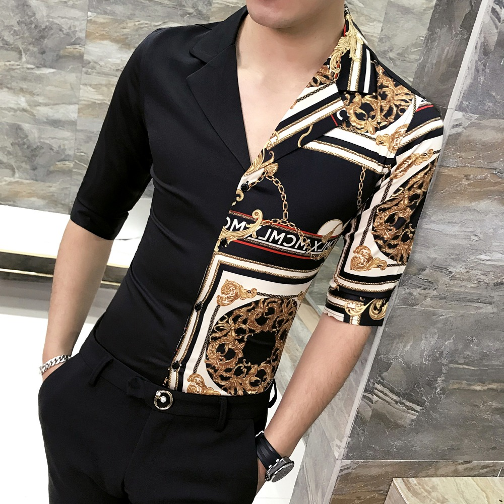 Spring and summer new men's high-end personality V-neck printed shirt tide Slim sleeved nightclub shirt