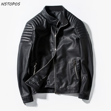 Buy 2017 Mens Leather Jacket Slim Fit Motorcycle Zipper PU Jacket Black Red Blue Men Faux Leather Jacket M-3XL Autumn Leather Coat for $48.00 in AliExpress store