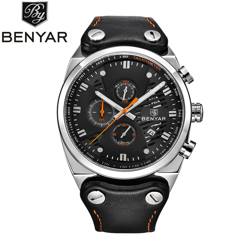 BENYAR Mens Fashion Chronograph Fashion Watches Man Mesh Leather Business Auto Date Quartz Skeleton Wristwatches BY-5110M<br>