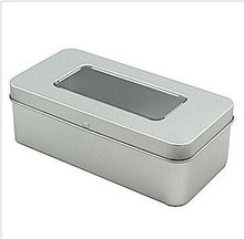 Size:148x73x48mm rectangle tin box with PVC window/ plain rectangle tin box with hinge(China)