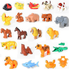 SsXz Duplo Original Classic Animal Zoo Big Biulding Block Lion Dinosaur Pet Tiger Dog Cat Large Bricks Education Baby Toys(China)