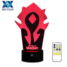 HUI YUAN WOW World Logo 3D Night Light RGB Changeable Mood Lamp LED Light 5V USB Decorative Table Lamp Get a free remote control(China)