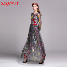 Long Dress Embroidery Colorful Flower Fashion Daily Women 2017 Spring Plus XXL New 3/4 Sleeve Orange / Grey / Black Mesh Dress(China)