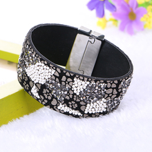 New Fashion Bohemian Colorful Beads Rhinestone Wide Magnetic Leather bracelets & bangles Wrap Charm For Women Handmade Jewelry(China)