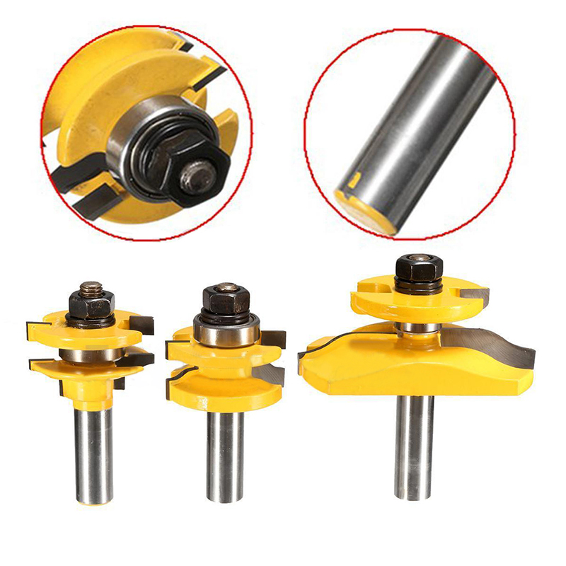 3pcs High Quality 1/2 Shank Door Panel Woodworking Cutter Tool Cabinet Router Bits Set For Woodworking Tools<br>