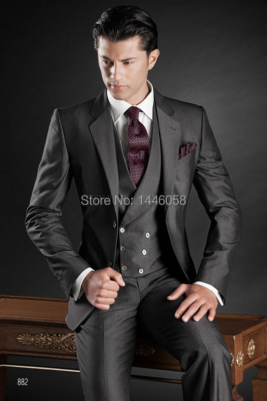 Custom Made 2016 Charcoal Business Formal Suit Groom Tuxedos Best Man Peak Lapel Men Wedding Suits (Jacket+Pants+Vest +tie)