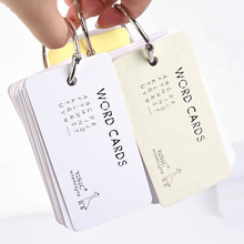 Portable Foreign Language Word Learning Flash Cards with Binder Ring English Vocabulary Word Card Mini Notebook Notepad Memos