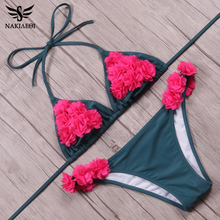 Buy NAKIAEOI Mini Micro Brazilian Bikini Women Swimwear 2018 Summer Sexy Bikini Set Floral Halter Swimsuit Beach Bathing Suits Swim