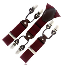 New Dark Red Burgundy tape Casual male fashion suspenders clip western-style trousers elastic spaghetti strap clip blet MBD8603(China)