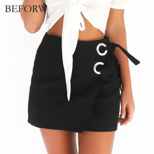BEFORW Fashion Women Skirt Summer 2017 Sexy Mini Party Skirts High Waist Black White Lace Buttonhole Womens Pencil Skirts Saias