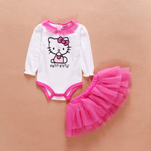 2017 New Baby Hello Kitty Romper Jumpsuit + Tutu Skirts Clothes Set Newborn Infant Rompers Suit 0-2years