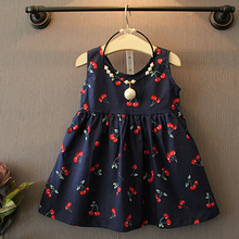2018 Summer Toddler Girls Dress Casual Clothing Cherry Print Princess Baby Dress Cotton Backless Kids Vestidos Baby Girl Clothes(China)