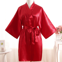 Solid Red Ladie's Short Satin Robe Dressing Gown Women's Leisure Nightgown Lingerie With Belt Kimono Bathrobe Sleepwear SG048(China)