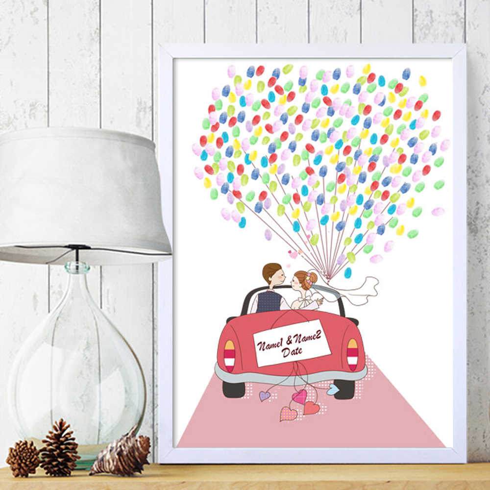 Wedding Car,Free Custom Name Date Canvas Print Fingerprints Guestbook,Personalized DIY Guest Book for Engagement Party & Wedding