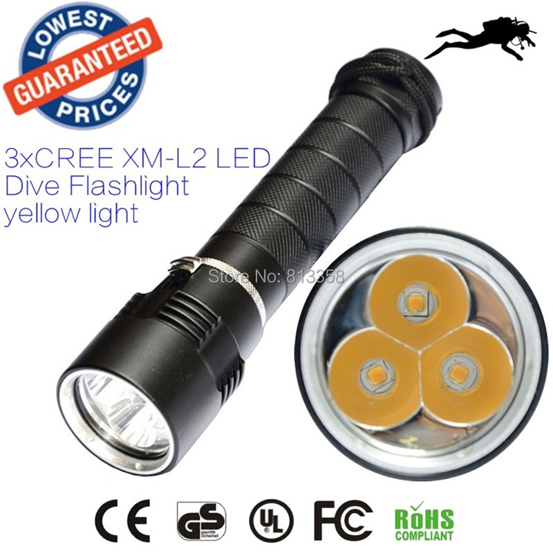 AloneFire DV11 warm light 3 X CREE XML L2 LED Diving Flashlight Torch 100m Depth Underwater Diver LED Flash Light yellow light<br>