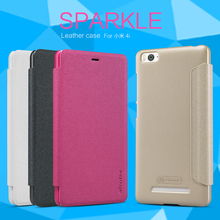 NILLKIN Brand Sparkle Super Flip Cover Leather Case For Xiaomi 4i/4c Mi4i Mi4c Smart Sleep Wake Function Phone Case
