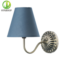 Euro Style Wall Lamp Iron Base Lamp Cloth Shade Indoor Lighting for Hotel Restaurant Bedroom Stairs Decor Gray  Antique Lamp E14