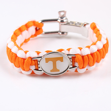 Tennessee Volunteers Screw Adjust Paracord Bracelet NCAA College Football Charm Bracelet Survival Bracelet,Drop Shipping(China)