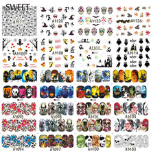 48Sheets Halloween Design Beauty Nail Stickers Skull/Pumpkin/Bat Water Transfer Nail Tips Decals Full Wraps Decor LAA1081-1128
