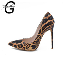GENSHUO Brand Heels 12cm 10cm 8cm Pointed Toe High Heels Shoes Women Pumps Leopard Print Patent Leather Heels For Party Dress