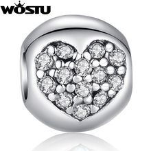 Hot Sale TOP Quality 925 Silver Heart Charm Beads with Crystal Fit Original wst Bracelet Pendants For Women DIY Jewelry SDP5283