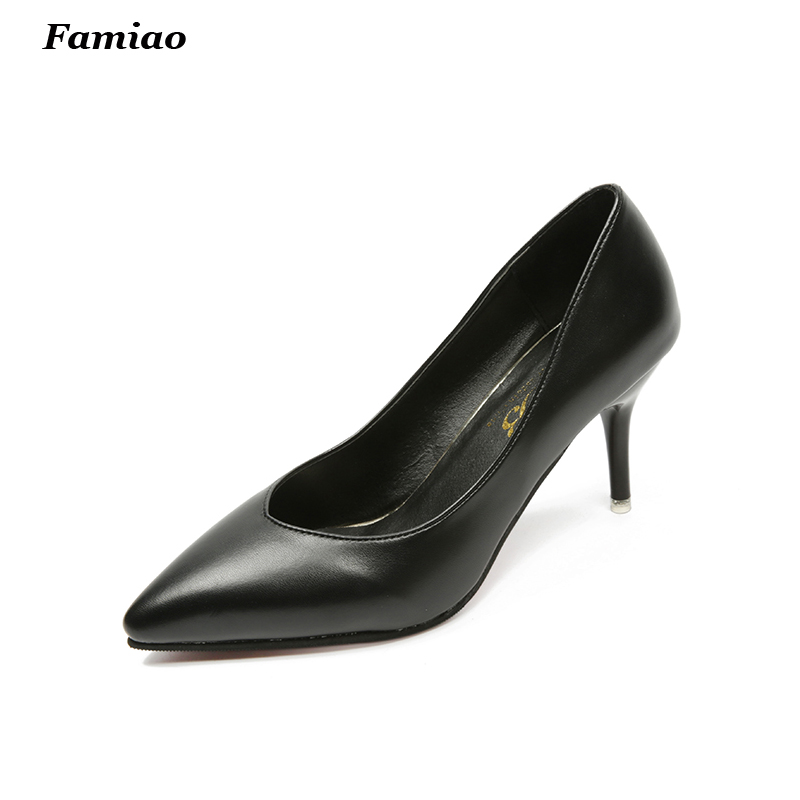 New 2017 Spring Fashion Office Lady Dress Shoes Sexy Pointed Toe Women Pumps 7.5cm High Heels Party Shoes<br><br>Aliexpress