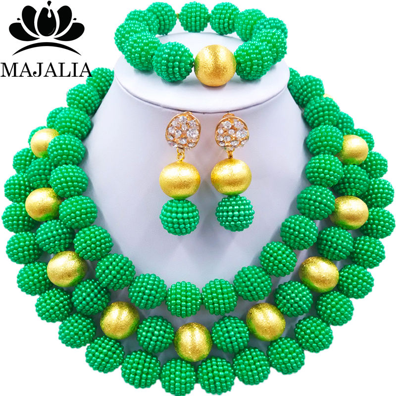 Nigerian Wedding African Beads Jewelry Set Simulated Pearl Necklace New Picture (11)