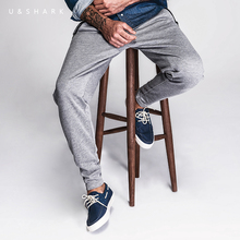 Luxury U&Shark Grey Skinny Sweatpants Men Brand Clothing Knitted Casual Pants 2016 New Korean Street Fashion Harem Pants Male(China)
